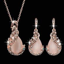 Hot Trendy Pink Crystal Jewelry Set Peacock Pendant Necklace Earrings Set Gold Color Elegant Women Wedding Fashion Accessories 2018 trendy fashion peach pink shell flower necklace for women jewelry hot