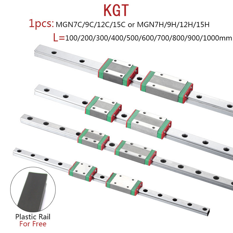 KGT 3D Printer MGN7 MGN12 MGN15 MGN9 L 100 350 400 500 600 800mm Miniature Linear Rail Slide 1pcs MGN Linear Guide MGN Carriage