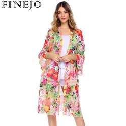 FINEJO 2018 Новое поступление Лето Sunproof кардиган модные женские туфли печати шифон кимоно кардиган пальто camisa женский Открыть стежка