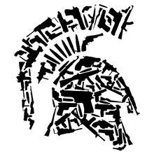 13.3CMX15.5CM Sparta Vinyl Motorcycle Helmet Gun Decorative Decal Car Stickers Black/Silver C1-3168