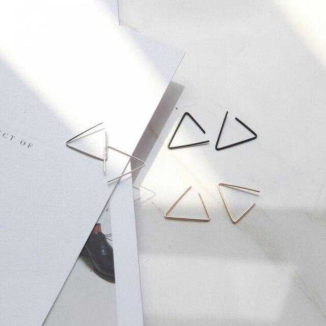 European Simple Design Gold Silver Black Color Alloy Open Triangle Stud Earrings Geometric Earring for Men.jpg 640x640 - European Simple Design Gold Silver & Black Color Alloy Open Triangle Stud Earrings Geometric Earring for Men and Women Jewelry