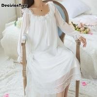 623e1c8eb 2019 Summer Sexy Long Sleep Lounge Cotton Sleepwear Female Home Dress Lace Princess  Vintage Nightgown Women