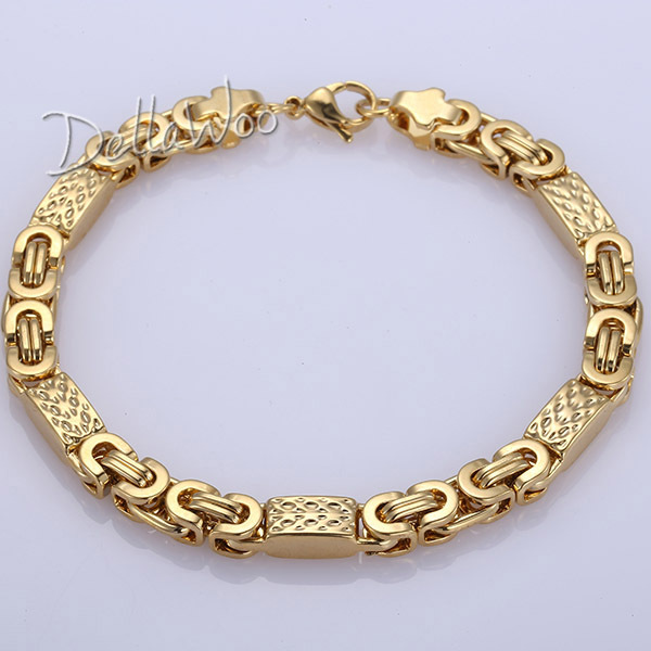 2017 New 6mm Mens Chain Boys Bracelet Gold Tone Flat Byzantine Link Stainless Steel Necklace
