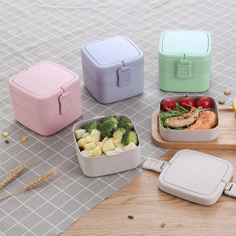 Square <font><b>Lunch</b></font> <font><b>Box</b></font> With Bag Eco-friendly Wheat Material High Capacity Rectangle Microwave Heated Bento <font><b>Box</b></font> Kid <font><b>Food</b></font> <font><b>Container</b></font> image