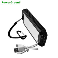 PowerGreen Carabiner Design Solar Battery 10000mAh Dual Ports External Energy Supply Solar Mobile Charger for Cell Phone