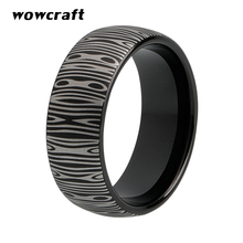 8mm Black Tungsten Carbide Ring for Men Women Damascus Engraved Fashion Tungsten Jewelry Rings delicate engraved faux gem jewelry ring for men