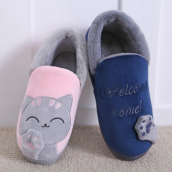 Women Slippers Winter Warm Plush House Slippers Embroidery Lovely Cat Home indoor Shoes Women Lovers Couples Zapatillas Mujer 4
