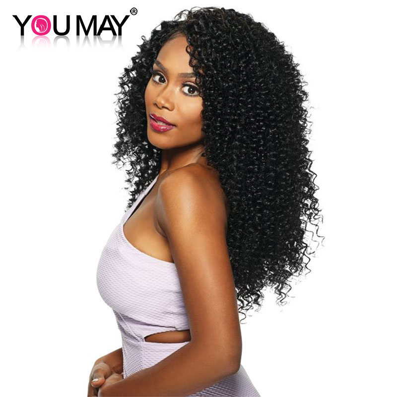 130% Density Kinky Curly Lace Front Human Hair Wigs For Black Women Natural Color Brazilian Remy Hair You May Hair