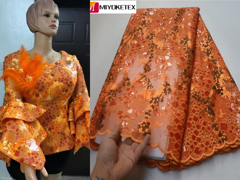 Luxury African Lace Fabric High Quality French Organza Lace Fabric 2019 New Arrival Sequins Lace Fabrics