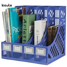 Multifunction Plastic Storage Hanger 4 Section Divider File Paper Magazine Rack Holder Office Home Desktop Book Box Bookshelf