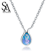 SA SILVERAGE Pendant Chain Necklace Women Chokers Female Sterling Silver Mermaid Series Jewelry S925