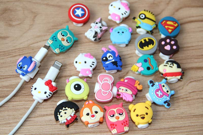 1pcs USB cable Earphones Protector colorful hello kitty Cover For iphone android cable Data Line Protection