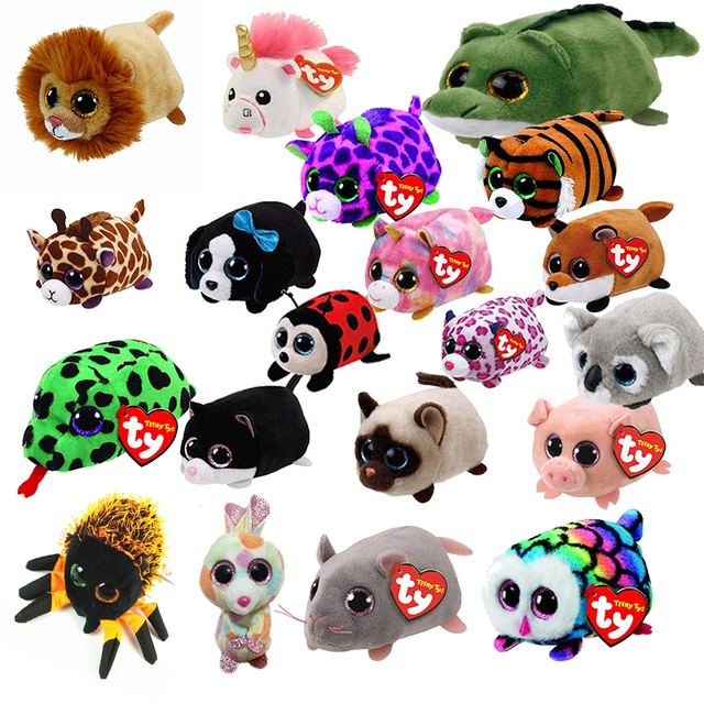 TY Beanie Boo Teeny Tys Plush White Owl Pig Monkey Fox Husky Crocodile Dog  Unicorn 9cm Big Eyes Dog Plush Toy Doll Baby Kid Gift 022a62ebe1f