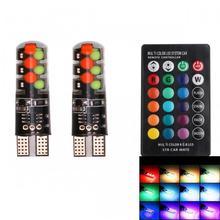 Car interior car lighting T10 RGB COB LED 3W RGB Light COB 9-SMD LED Indicator Lamps Colorful atmosphere lights DC 12V(2 PCS) цена 2017