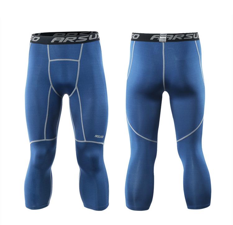 Meggings - leggings pour homme coupe 3/4 pantacourt de sport gym yoga bleu marine, vue de face et de dos