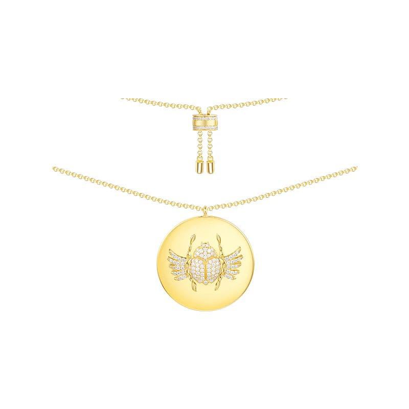 925 Sterling Silver Gold Color cz Coin Scarab Pendant NecklaceCubic Zirconia CZ Choker April Egypt Monaco Women Jewelry