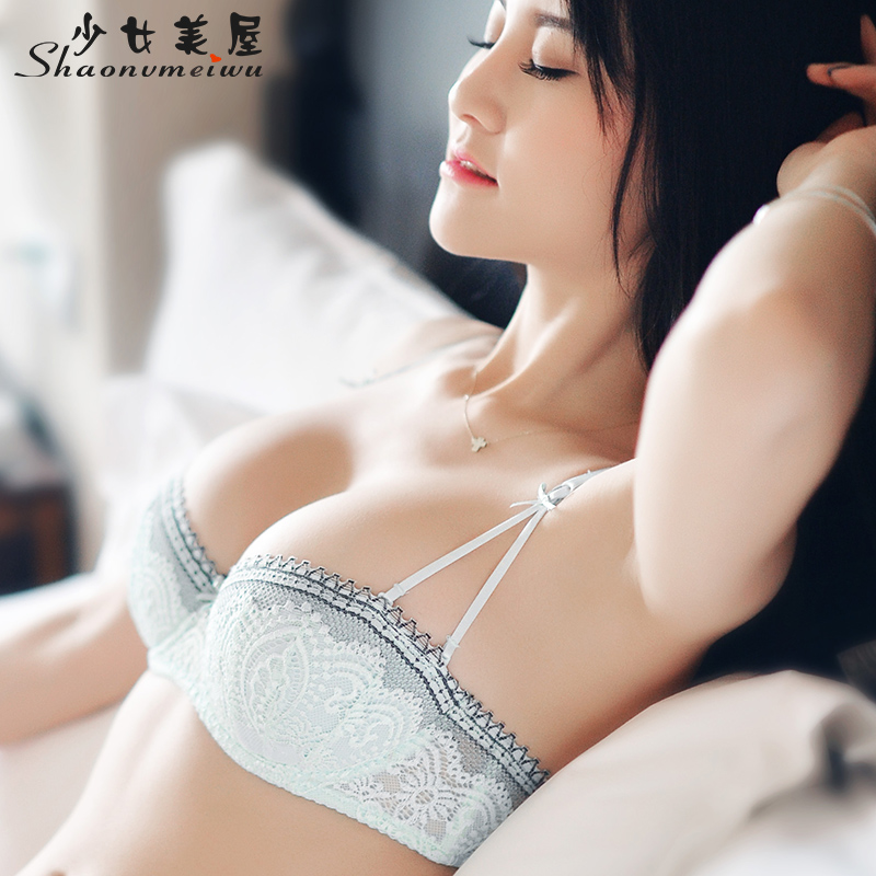 Shaonvmeiwu Sexy lace thin section gathered temptation   bra     set   half cup underwear   bra   2/1 cup black thin cotton