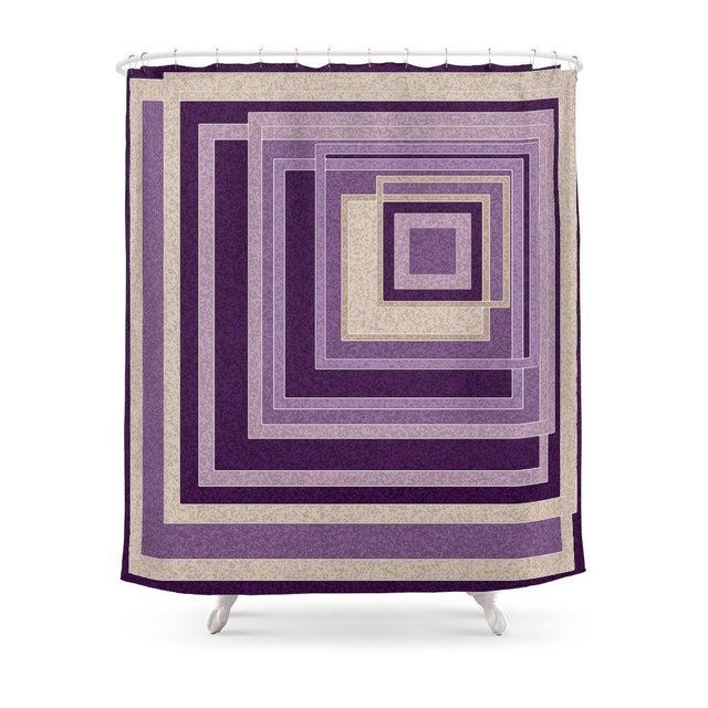 Abstract Painting In Purple And Brown Tones Shower CurtainSet Bath Curtain For Bathroom With Non-slip Floor Mat