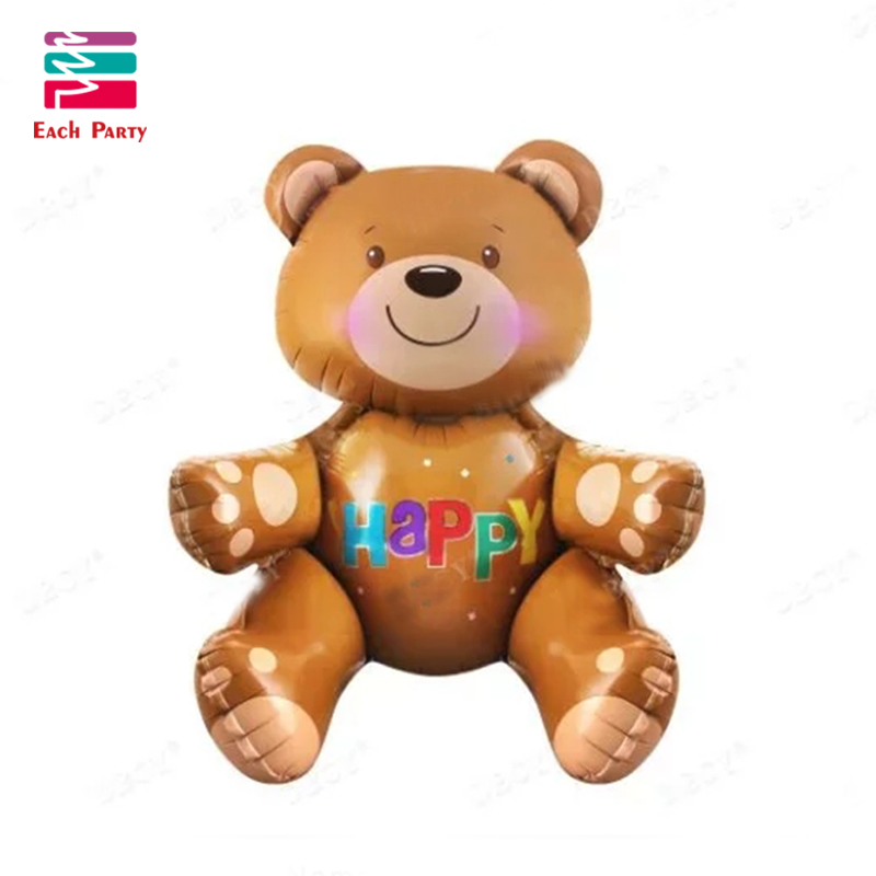 Large3D Bear foil balloons baby shower decoration helium balloon happy birthday