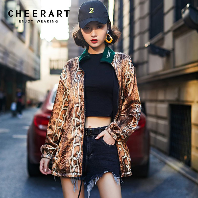 c4ee80e47a9 Detail Feedback Questions about Cheerart Snake Print Jacket Women  Reversible Stand Collar Coat Women Snakeskin Drawstring Designer Fall Jacket  Clothes on ...