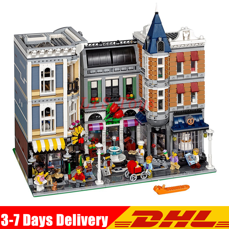IN Stock DHL Lepin 15019 4122pcs City Expert Series ASSEMBLY SQUARE Building Blocks Model Bricks Compatible with Legoing 10255 in stock with light 15019b 4122pcs lepin 15019 4002pcs assembly square city serie model building kits brick toy compatible 10255