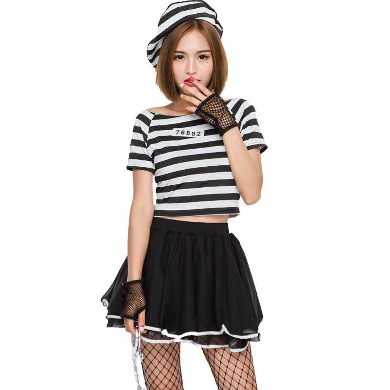 Women's Convicted Cutie Cosplay Prisoner Costume Halloween Party Female Inmater Uniform Outfits Dress Up Game Costumes