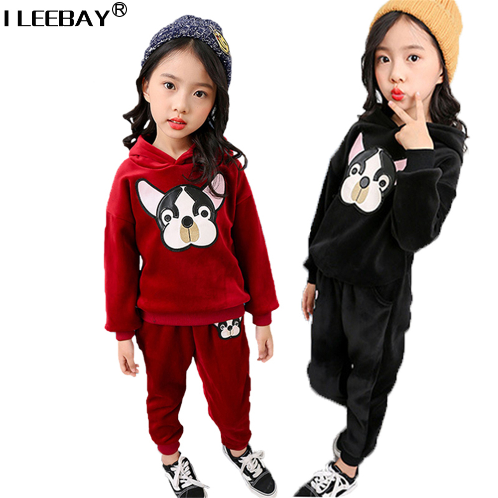 High Quality 2018 Winter Pleuche Clothing Sets 2 Pcs Plus Velevt Full Sleeve Coat+Pant Suit Teenager Cute Girls Costume Set autumn winter girls children sets clothing long sleeve o neck pullover cartoon dog sweater short pant suit sets for cute girls
