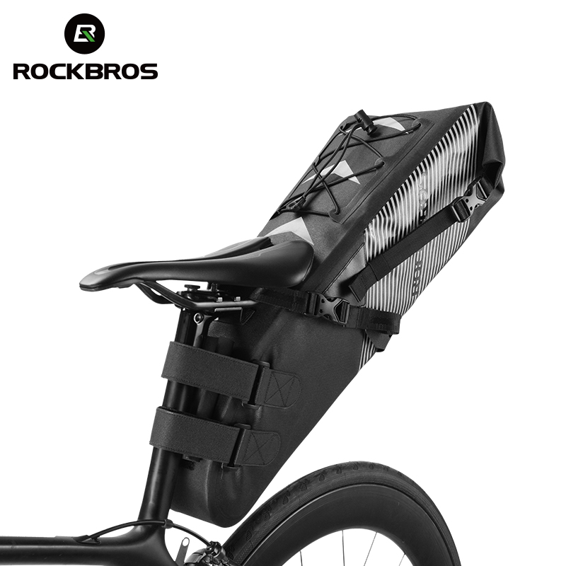 ROCKBROS Waterproof Bike Saddle Bag Cycling Foldable Tail Rear Seat Bag MTB Trunk Pannier Backpack Accessories High-capacity 10L roswheel mtb bike bag 10l full waterproof bicycle saddle bag mountain bike rear seat bag cycling tail bag bicycle accessories