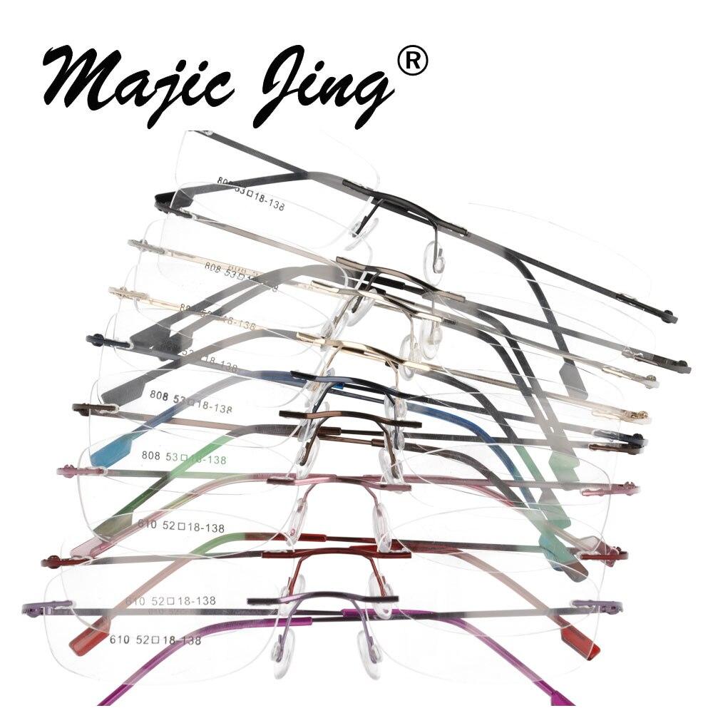 Magic Jing vente en gros sans monture articulée montures optiques mémoire métal lunettes prescription lunettes 10 pièces 808