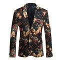 Trajes formales para Hombres Flor Floral Blazers Moda trajes de Hombre blazers Hombres Traje Chaqueta vestido de Novia Más El Tamaño Gent Vida