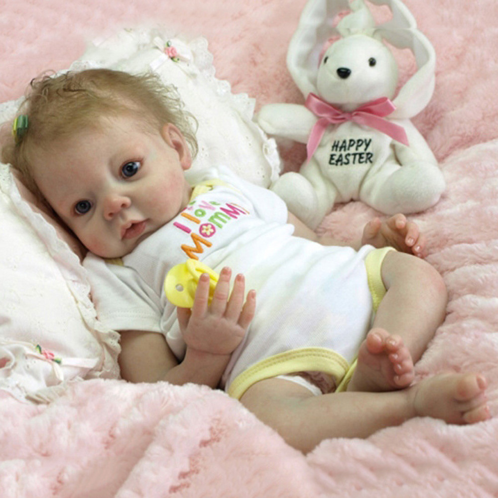 "Full Body Silicone Reborn Girl Dolls Realistic Newborn Baby 22/"" Lifelike Toddler"