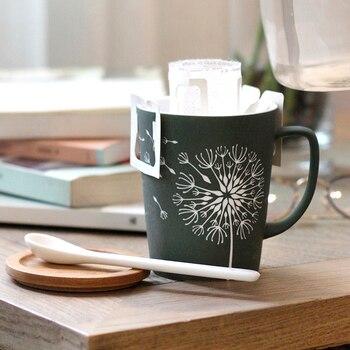 OUSSIRRO creativo hojas de diente de león tema leche de café cerámica tazas con tapa y cuchara Color puro taza de herramienta de cocina regalo