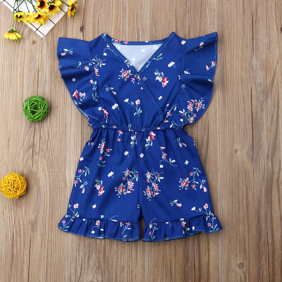 Newborn Baby Girl Clothes Flower Print Fly Sleeve Ruffle   Romper   Jumpsuit Sunsuit Outfit Clothes