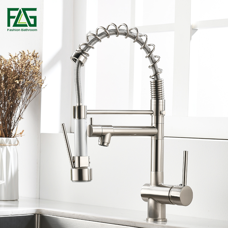 FLG Spring Kitchen Faucet Swivel Side Sprayer Dual Spout Kitchen Mixer Tap Brushed Nickel Kitchen Sink