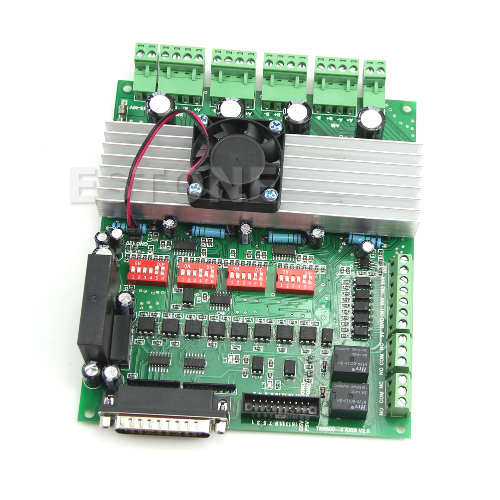 High Quality 4 Axis TB6600 CNC Controller Max Current 5A 36V Stepper Motor Driver Board free shipping high quality 4 axis tb6560 cnc stepper motor driver controller board 12 36v 1 5 3a mach3 cnc 12