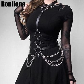 Arnés de cuero, cinturón, lencería, jaula para Bondage, liguero, arnés corporal para mujer, cadena, cinturón, sujetador, jaula, Tops Punk Goth