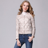 Stand Collar Short Design White Duck Down Jackets Women Ultra Thin Leightweight Down Coats Plus Size