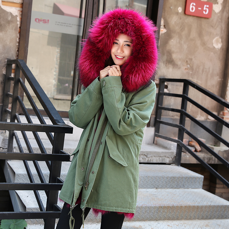 2016 font b women s b font army green Large natural raccoon fur collar hooded long