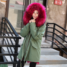 2017 women s army green Large natural raccoon fur collar hooded long coat parkas outwear fox