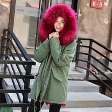 2017 women s army green Large natural raccoon fur collar hooded long coat parkas outwear fox