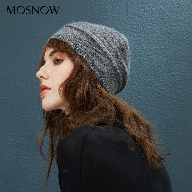 Winter Hats With Diamond Decor Hat Female Autumn   Beanie   For Women's Wool Knitted Warm Caps 2018 New Fashion   Skullies     Beanies