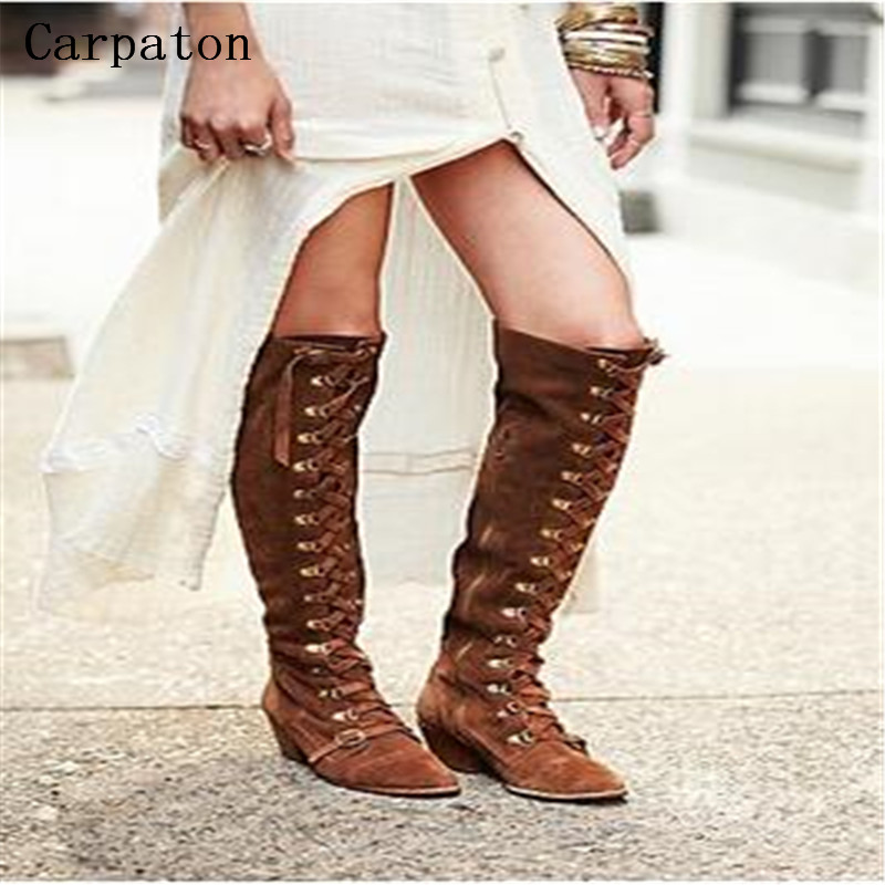 High quality Women Winter Microfiber Knee-High Boots Cross-tied Long Boots Square Heel Women Fashion Winter Boots Shoes high quality