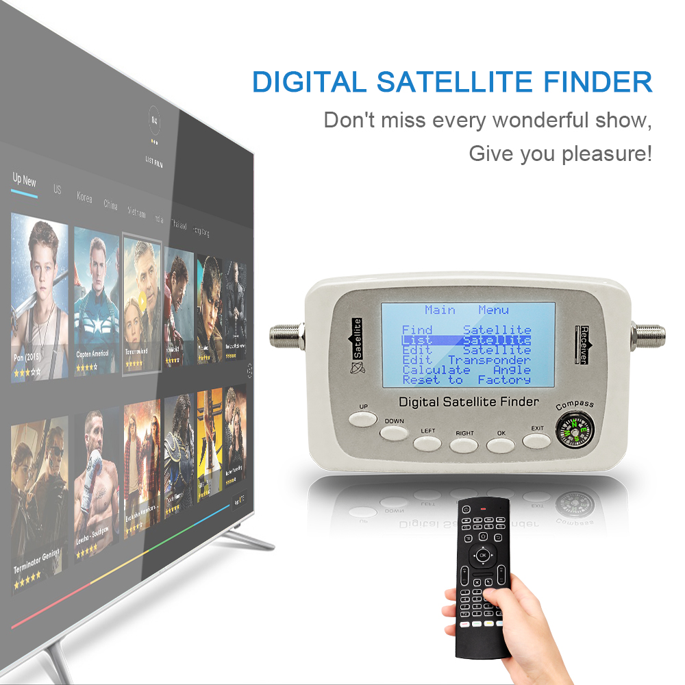 SF-500 Digital Satellite Finder Signal Meter Finder SF500 DVB-S DVB-S2 Satellite Dish Finder with Compass sf 600 3 4 display dvb s dvb s2 digital satellite finder white black