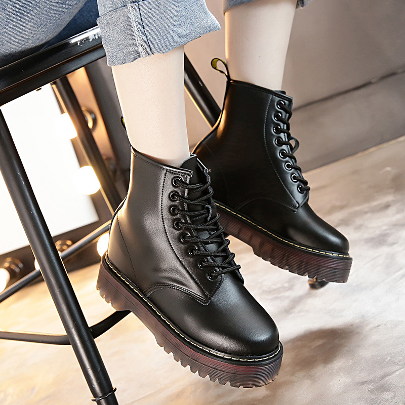 Size34-40 Fashion Brand 5 Colors Genuine Cow Leather Ankle Martin Boots Casual Inside Heighten Girl School Boots Women Shoes