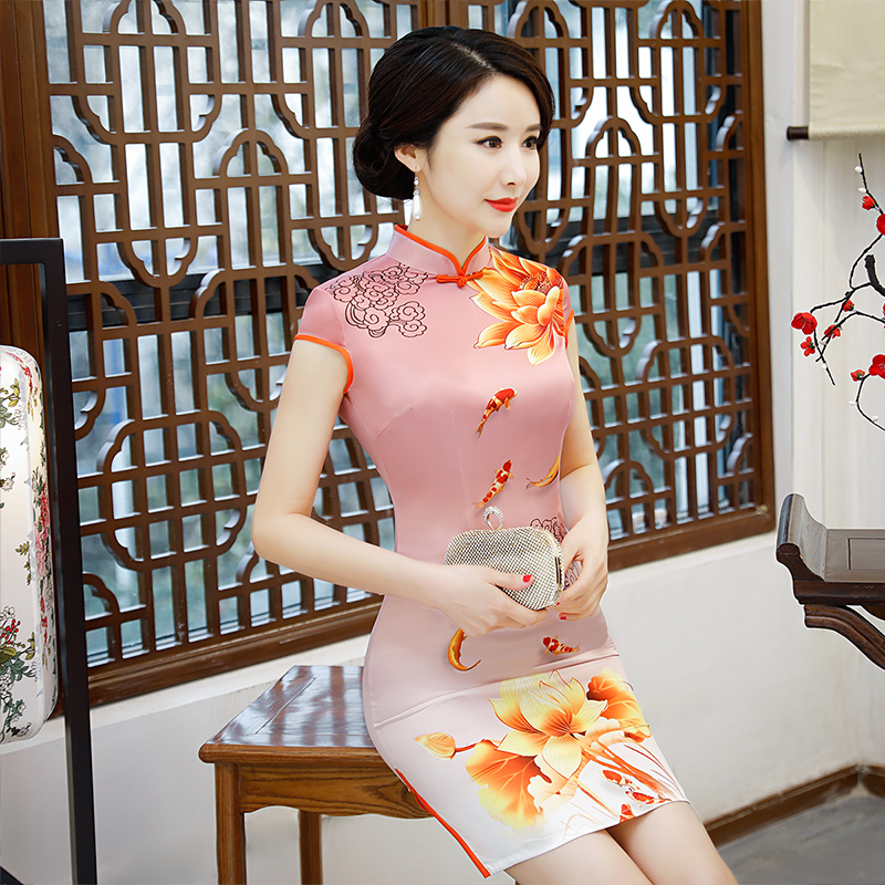 New Arrival Women's Satin Mini Cheongsam Fashion Chinese Style Dress Elegant Slim Qipao Clothing Size S M L XL XXL 368483 12