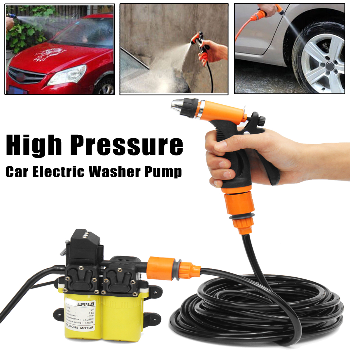 High Pressure Car Washer Electric Washer Kits 12V 100W  + Water Brush + Car Cigarette Charger with 4.5M LineHigh Pressure Car Washer Electric Washer Kits 12V 100W  + Water Brush + Car Cigarette Charger with 4.5M Line
