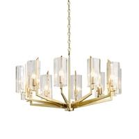 DX Modern Led Chandelier Designer'S Lighting Iron Lamp Living Room Bedroom Light Luxury Clear Glass Luminaire Bronze Gold Luster