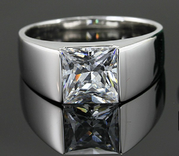 Genuine Quality Solid 14K White Gold Men Solitaire Ring
