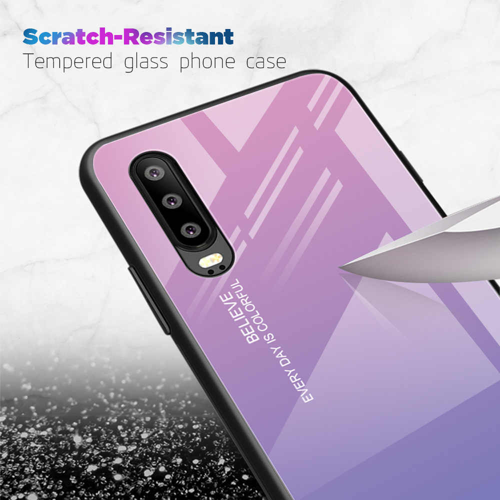 Heyytle Full Cover Tempered Glass Case For Huawei P smart P30 P20 Pro Case Mate 20 10 Lite Gradient Cases Nova 3 3i Cover Fundas