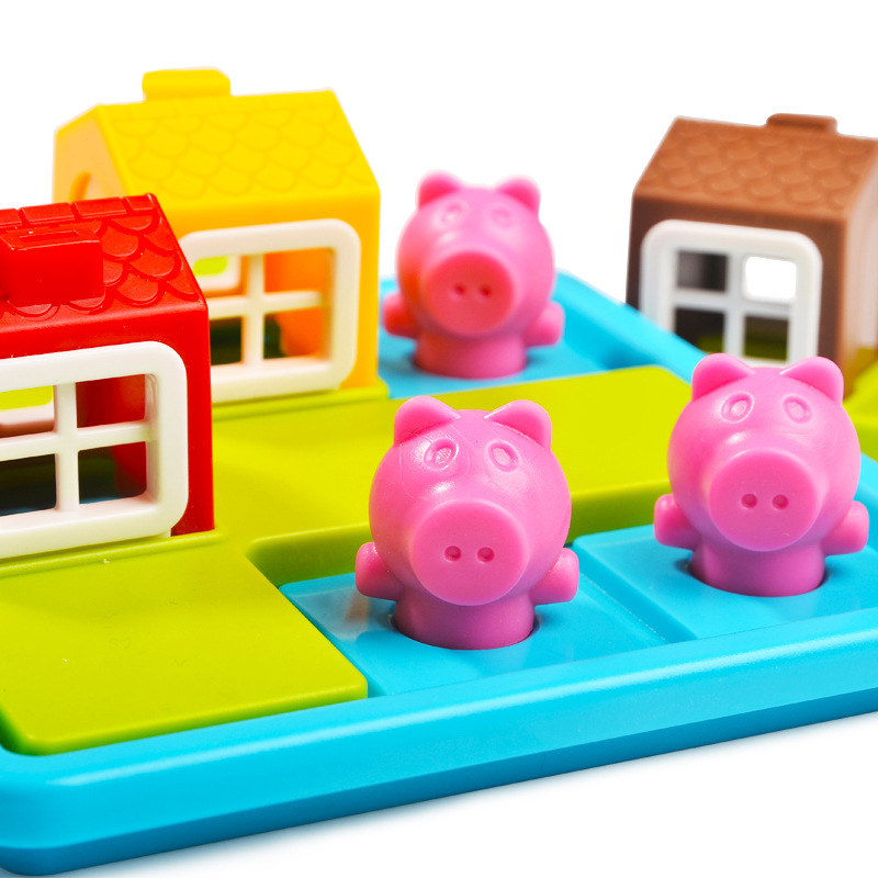 Plastic Lovely Three Little Pigs Puzzle Kids Children Gift Intelligence Toy Gift For Children